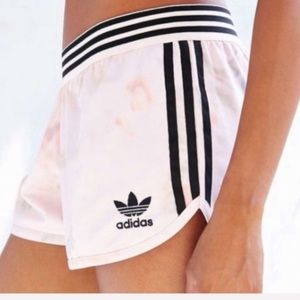 Adidas pink floral shorts with stripes , small